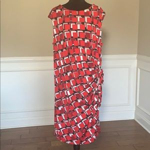 R & K Sleeveless Printed Tie at Waist Dress EUC
